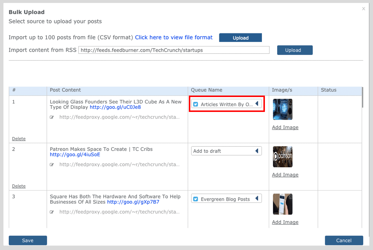 RSS Bulk Upload Choose Draft or Queue