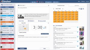 Publishing to social media, calendar view