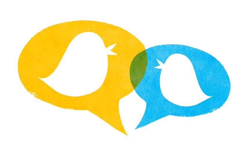Social media communication concept little birds gossiping.