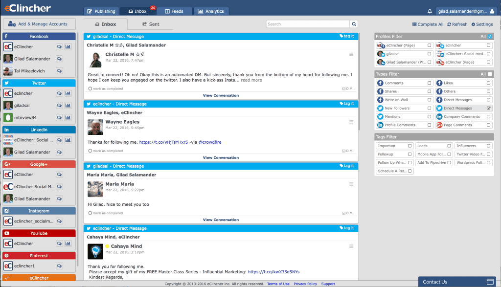 eClincher unified social inbox. Social media management tool