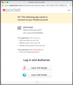 Pocket authorization API with eClincher