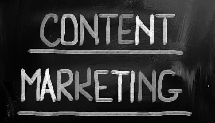 Content marketing written on chalkboard