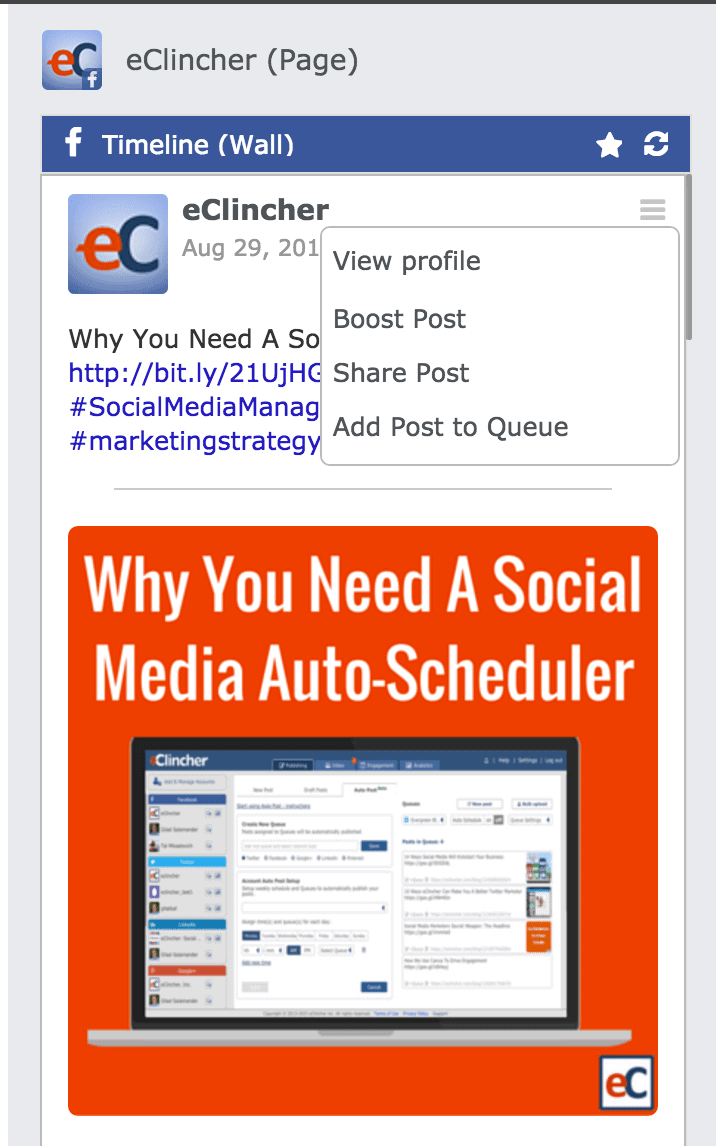 Facebook Boost with eClincher