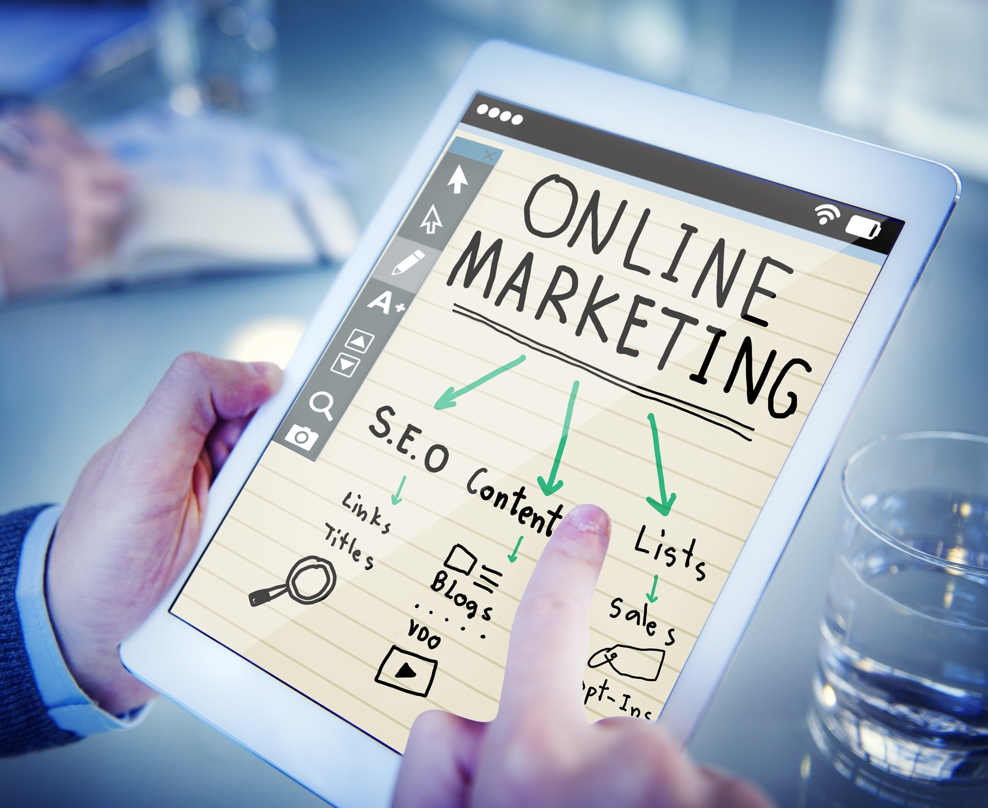 online marketing strategy on tablet