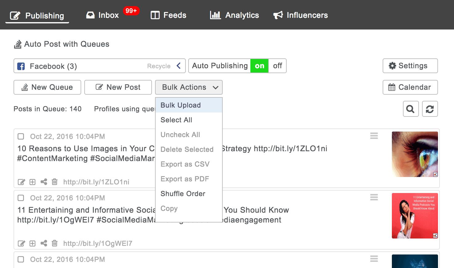 Using Bulk Actions to bulk upload posts