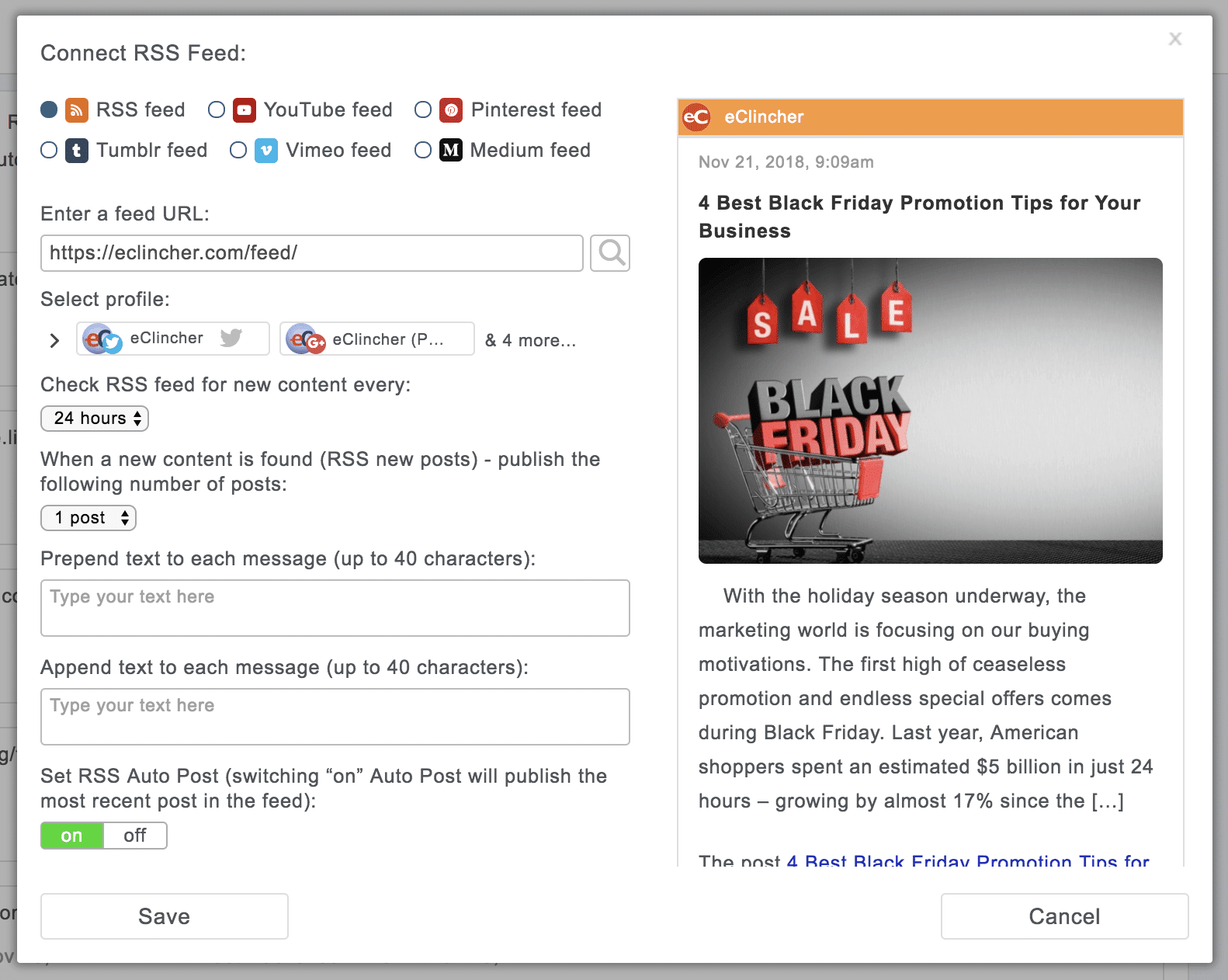 Setting up Auto Publishing from RSS feed