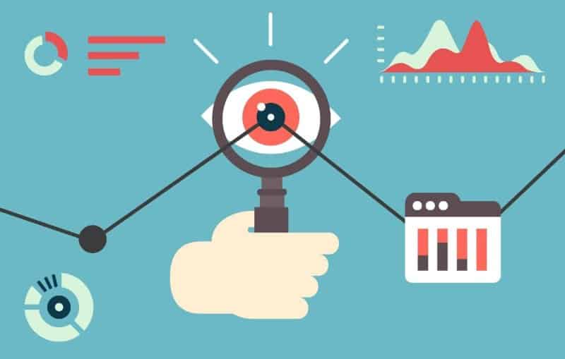 illustration of magnify glass, analytics, search, optimize your image SEO