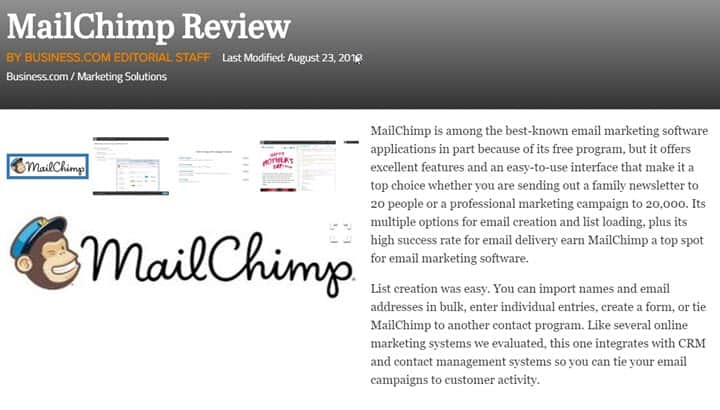 mailchimp product review