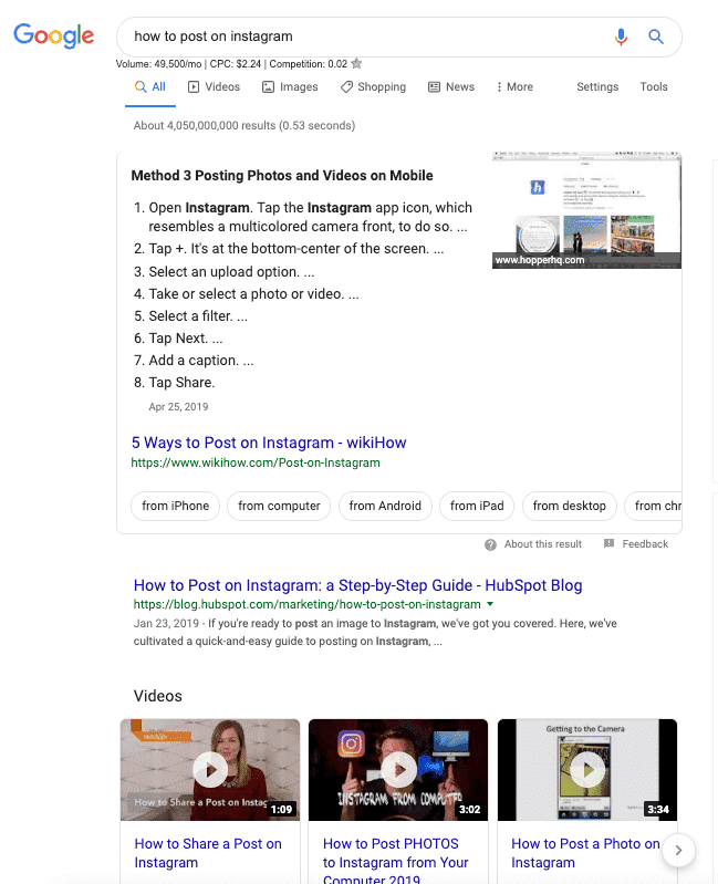 google video results