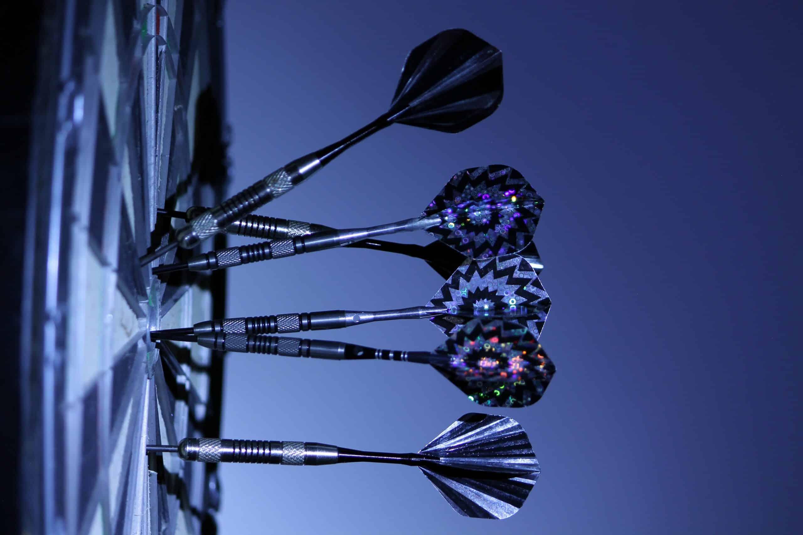 dartboard on target blue background
