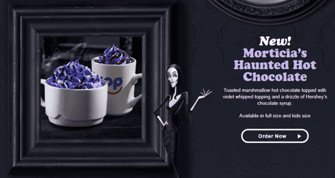 morticia hot chocolate halloween social media posts