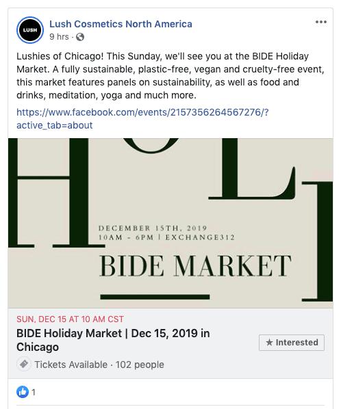 lush cosmetics at bide holiday market