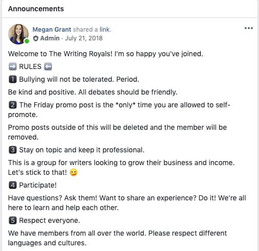 private facebook group rules