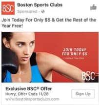 boston sports club paid facebook ads