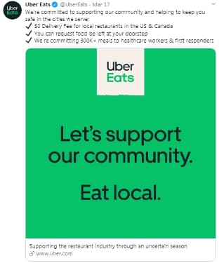 uber eats free delivery during covid-19