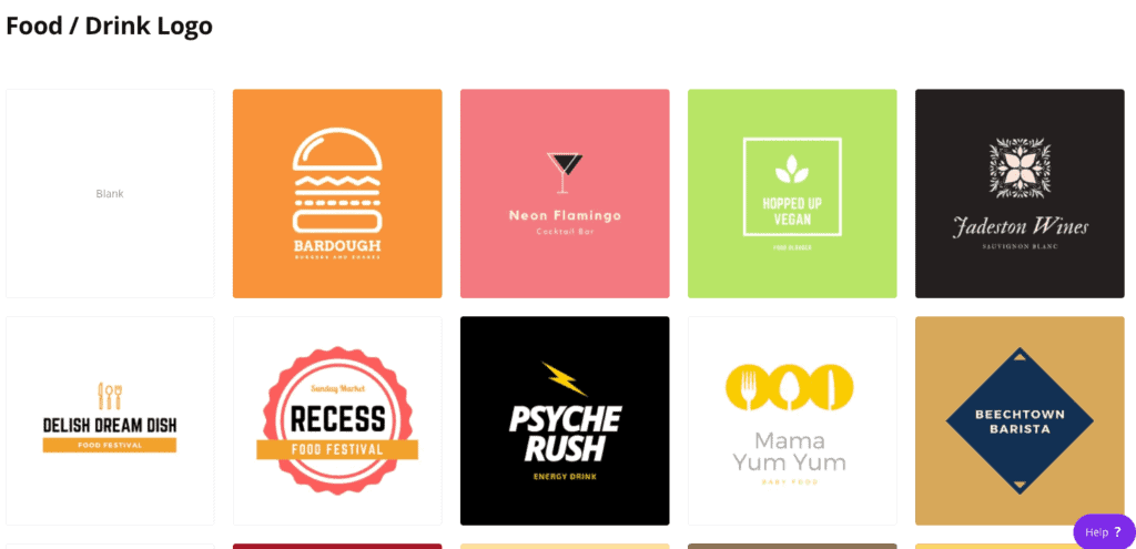 canva food and beverage logo templates