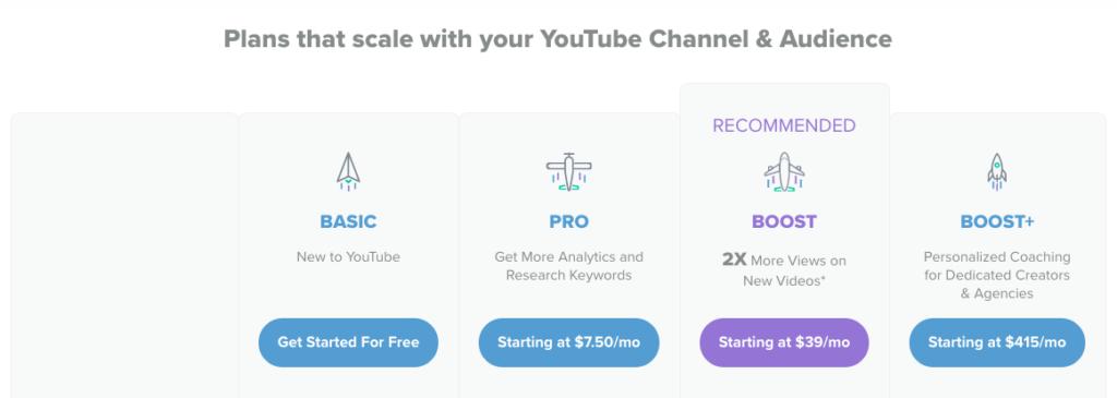 vidiq pricing for youtube