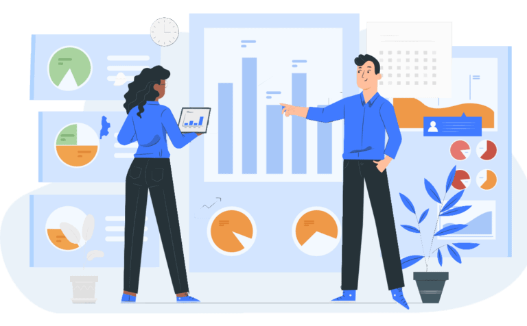 illustration of people and analytics charts