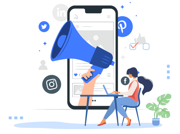 woman, megaphone and mobile phone illustration