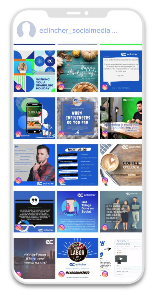 eclincher_socialmedia instagram seo profile theme visual calendar eclincher