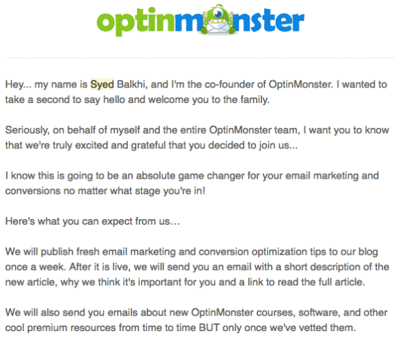 optinmonster promotional email example