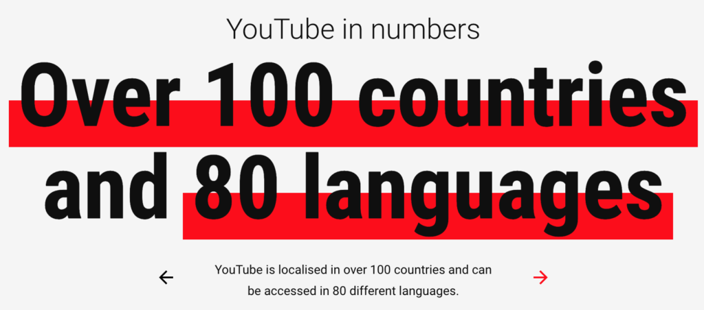 YouTube statistics 80 languages 100 countries