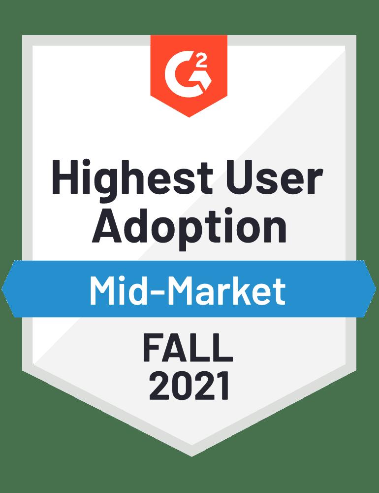 eclincher Highest User Adoption Mid-Market G2 Fall 2021